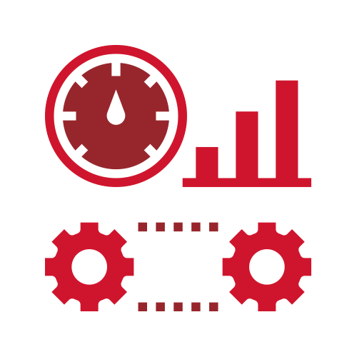 Red gears and stats icon