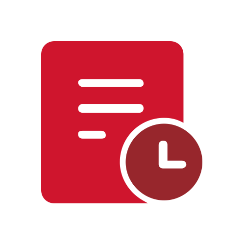 Red document with clock icon