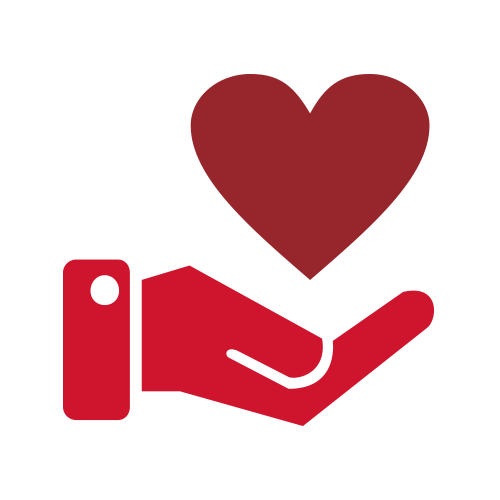 Red hand holding heart icon