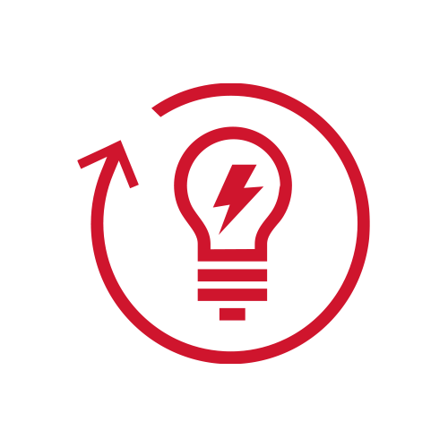 Red lightbulb with refresh arrow icon