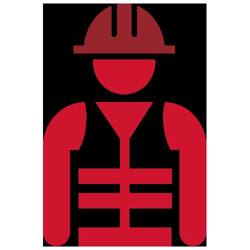 Red worker wearing helmet icon